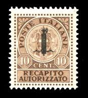 REGNO Repubblica Sociale 1944 Recapito Autorizzato 10 Cent. RSI Soprastampato Fascetti MNH ** Integri R.S.I. - 4. 1944-45 Repubblica Sociale