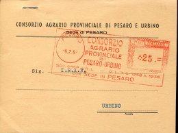 9349 Italia, Red Meter Freistempel EMA 1952 Corsorzio Agrario Provinciale Di Pesaro Urbino, Pesaro, Viaggiata - Affrancature Meccaniche Rosse (EMA)