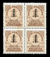 REGNO Repubblica Sociale 1944 Quartina Recapito Autorizzato 10 Cent. RSI Soprastampato Fascetti MNH ** Integri R.S.I. - 4. 1944-45 Sozialrepublik