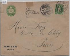 25 Rp. Tüblibrief Mit Nr. 67C 25c Perfin Timbres Henri Fierz, Zürich - Stabtempel Zürich - Werteindruck Links - Ganzsachen
