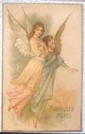 Litho Chromo Precurseur Illustrateur GOM G.O.M. Duo Grand Ange Anges Beau Visage Voyagé 1909 Vers Bray Sur Seine - Angels