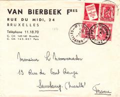 1931# BELGIQUE PETIT SCEAU TETE BECHE PUBLICITE CATALOGUE NATIONAL LETTRE Obl BRUXELLES BRUSSEL 1938 SARREBOURG MOSELLE - Werbung