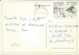 Bay Of San Simon. Slovenia Postcard Via Macedonia.nice Stamp. - Slovénie