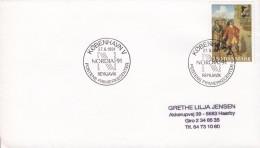 Denmark Sonderstempel KØBENHAVN V. 1991 Cover Brief NORDIA '91 Reykjavik Iceland Tordenskiold Stamp - Dänemark