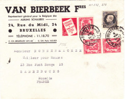 1935# BELGIQUE PETIT SCEAU PUBLICITE CATALOGUE NATIONAL LETTRE Obl BRUXELLES BRUSSEL 1937 SARREBOURG MOSELLE - Publicités
