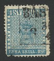 Sweden, 4 S. 1855, Sc # 2, Mi # 2, Used - Oblitérés