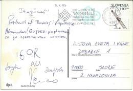 Bohinj. Slovenia Postcard Via Macedonia.nice Stamp. - Slovénie