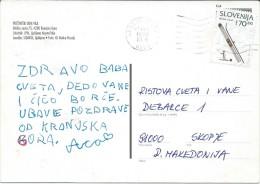 Kranjska Gora. Slovenia Postcard Via Macedonia.nice Stamp. - Slovénie