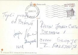 Portoroz. Slovenia Postcard Via Macedonia.nice Stamp. - Slovénie
