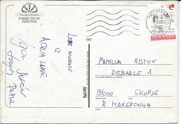 Aqualuna Terme Olimia. Slovenia Postcard Via Macedonia.nice Stamp. - Slovénie