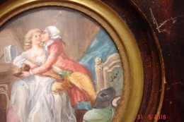 """Peinture Miniature Signée Jane """"Le Duo Interrompu""""""""13,5x13;5 Cms .début Xx E - Unclassified"""