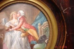 "Peinture Miniature Signée Jane ""Le Duo Interrompu""""13,5x13;5 Cms .début Xx E - Miniaturen"
