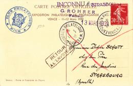 1946# CARTE POSTALE Obl EXPOSITION PHILATELIQUE VENCE ALPES MARITME 1939 INCONNU A STRASBOURG G. ROHRER FACTEUR BAS RHIN - Postmark Collection (Covers)
