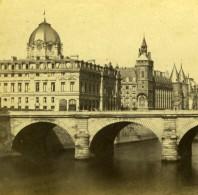 France Paris Tribunal De Commerce Pont Sur La Seine Ancienne Photo Stereo Stereoscopique 1860 - Stereoscopic