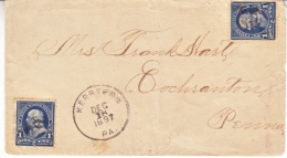 U.S. COVER WITH  EARLY  PRE-CANCEL, PA. 1897 - Covers & Documents
