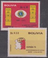 6341 - BOLIVIA - 1975 Lions And Philatelic Exhibition. Scott 563, 564. MNH ** - Bolivia