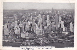 Aerial View Of LOWER NEW YORK, Looking North - Circulé 1938, Taxée, Timbres Taxes Français Pour 70 Centimes - Multi-vues, Vues Panoramiques