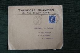 Enveloppe Publicitaire Timbrée Rare Avec Lettre Et Timbres - PARIS, Théodore CHAMPION , 13 Rue DROUOT. - Lettres & Documents