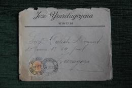 Enveloppe Expédiée De IRUN  ( YRUN ) à ZARAGOZA En 1889 - 1889-1931 Royaume: Alphonse XIII