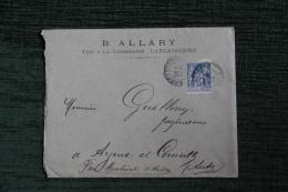 Enveloppe Publicitaire Timbrée Avec Lettre, CARCASSONNE, Vins à La Commission, B.ALLARY - 1876-1898 Sage (Type II)