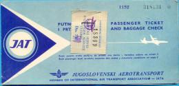 The JAT Passinger Ticket. Belrade - Rome  - Tunis. 1962. - Tickets - Vouchers