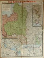 Der Krieg Gegen Russland - Paasche 's Frontenkarte Nr. 7 - 46cm X 61cm - Rückseitig Der Westliche Kriegsschauplatz - Geb - Karten