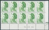 """France 1986 - Coin Daté 06/08/86 - S/Bloc De 10 Valeurs Type """"Liberté"""" De Delacroix - Y&T N° 2423 ** Neuf Luxe 1er Choix - Ecken (Datum)"""