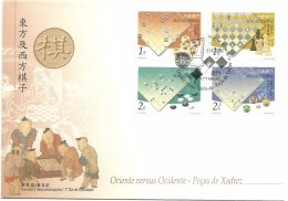 Cover FDC - Macau - Oriente Versus Ocidente - Peças De Xadrez - 2000 - 1999-... Chinese Admnistrative Region