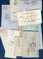 France - Lot De 10 Lettres Ou Enveloppes Période 1827/1863  Voir 3 Scans  Réf. 1146 - Poststempel (Briefe)