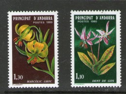 ANDORRE 1980 FLEURS  YVERT   N°286/87  NEUF MNH** - Végétaux