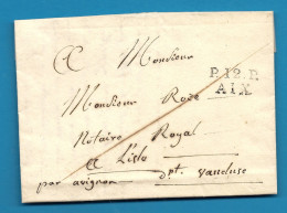 Bouches Du Rhone - Aix En Provence Pour L'isle Sur La Sorgue Par Avignon (Vaucluse). LAC De 1824 - Postmark Collection (Covers)