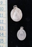 2 Pendentifs Religieux, Petites Médailles De Pèlerinage, Argent ,N.D Des Anges Et Lescure 19 Eme - Pendentifs
