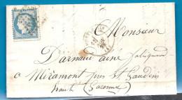 Allier - Montlucon Pour Miramont Près St Gaudens (haute Garonne). GC + CàD Type 17 - Marcophilie (Lettres)