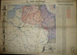 So Steht Der Krieg Februar 1915 - Kriegsoperationskarte über Alle Kriegsschauplätze Der Welt - 39cm X 54cm - Herausgeber - Karten