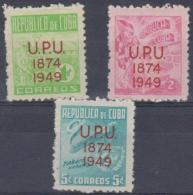 371 - CUBA - 1950 UPU. Scott 449-451. Mint Hinged * - Cuba