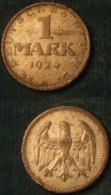 M_p> Germania Repubblica Di Weimar 1 Marco 1924 Zecca A - In Argento - [ 3] 1918-1933 : Weimar Republic