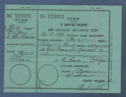 TURKEY TURQUIE 1955 - BILLET DE TRAIN TCDD Türkiye Cumhuriyeti Devlet Demiryollar - IZMIR ANKARA - Chemins De Fer