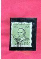 ITALIA REPUBBLICA ITALY REPUBLIC 1978 PERSONAGGI ILLUSTRI FAMOUS PEOPLE PAPA PIO IX POPE USATO USED OBLITERE´ - 1946-.. République