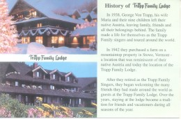 HISTORY OF THE TRAPP FAMILY LODGE  STOWE VERMONT USA CPSM - United States