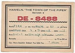 CARTE - RADIO - QSL -  HAMELN - ENTIER - DEUTSCHLAND - ALLEMAGNE - 1948 - - Radio Amateur