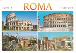 Com'é - Com'era.  Rome Antique. Carte Postale Adressée ANDORRE, Avec Timbre à Date. Deux Photos - Colosseum