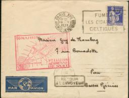 Aérogramme -1ère Liaison Aérienne De Nuit 10 Mai 39 - Zonder Classificatie