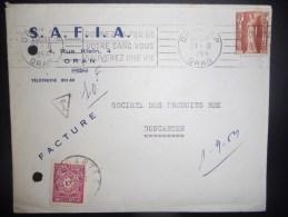 Algerie Lettre D Oran 1954 Pour Descartes , Avec Taxe - Storia Postale