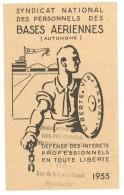 Carte Syndicat National Des Personnels Des Bases Aériennes 1955 - Vieux Papiers