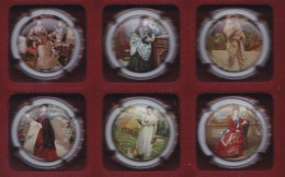 SERIE COMPLETA DE 6 PLACAS DE CAVA OLIMER DE MUJERES DE EPOCA (CAPSULE) MUJER-WOMAN - Placas De Cava