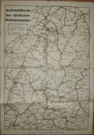 Automobilkarte Des Nördlichen Schwarzwaldes - Staatseisenbahnen Privatbahnen Automobilstraßen Auto-Landstraßen - 40cm X - Karten