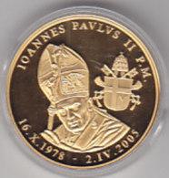 Médaille De JEAN - PAUL II - 40mm - 26g -  Avers : Pape- Revers : Clefs . Dorée. - Jetons & Médailles