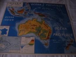 - VENDS Belle CARTE Géographique Bi-Face 91 Cm X 79cm L´Amérique Du Sud Et L´Océanie éditée En 1960. - Mapas Geográficas