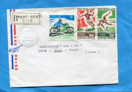 MARCOPHILIE-lettre-REC-Gabon-c A D- 1977-3 Stamps N°185-6 Sports Foot+saut En Hauteur+362 Moto Suzuki - Gabon