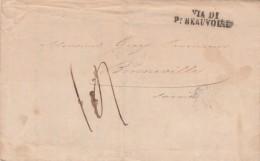 Lettre Facture Entête Masson Vignoble Villefranche Rhône 1850 Pour Bonneville Haute Savoie Cachet Via Di Pt Beauvoisin - 1801-1848: Voorlopers XIX